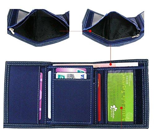 QISHI YUHUA JML da uomo coreana breve paragrafo 3Fold Tela Borsa Tela Portafogli, Black (nero) - QHISHI YUHUA JML011 Blue