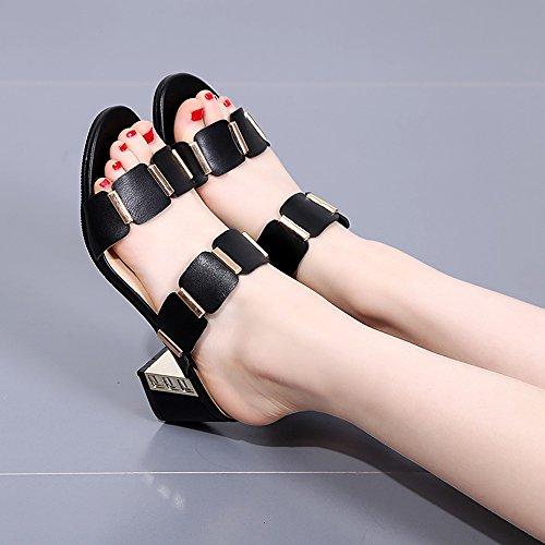 Flipflopsandelholze White und Black Women's high-heeled cool Pantoffeln Sommer Mode Outdoor Sandalen Ferse: 7cm stilvoll ( Farbe : Schwarz , größe : EU35/UK3/CN34 ) Schwarz