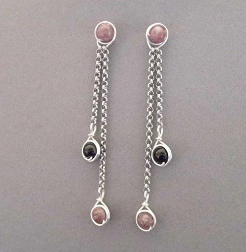 Ohrringe Slinky - Edelsteine Turmalin rosa und schwarz