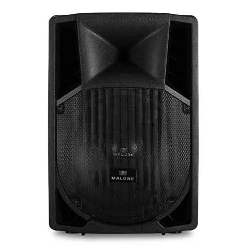 Malone PP-2215A  aktive PA Box  2-Wege-Lautsprecherbox  PA-Lautsprecher  1500 Watt max. Leistung  38 cm (15\'\')-Subwoofer  Frequenzbereich: 40 Hz - 18 kHz  Standardflansch zum Stativ-Aufbau  ABS-Gehäuse  Metallschutzgitter  Transportgriff  schwarz