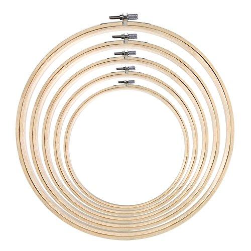 5Stück Stickrahmen Bambus rund Kreuzstich Hoop Ring Set für Art Craft Praktische Nähen, 5Größen