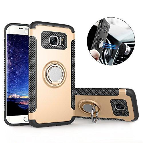 Hülle für Samsung S7 Edge , Galaxy S7 Edge Handyhülle mit Ring Kickstand - Mosoris Premium Silikon Shell mit 360 Grad Drehbarer Ständer und Handyhalterung Auto Magnet Ring , Dual Layer Stoßfest Rüstung Schutzhülle Bumper Tasche Case Cover für Samsung Galaxy S7 Edge , Gold
