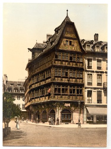 Vintage View of Altehaus, Strassburg, Alsace Lorraine, Germania, Large A3 misura 41 by 29 cm tela foto