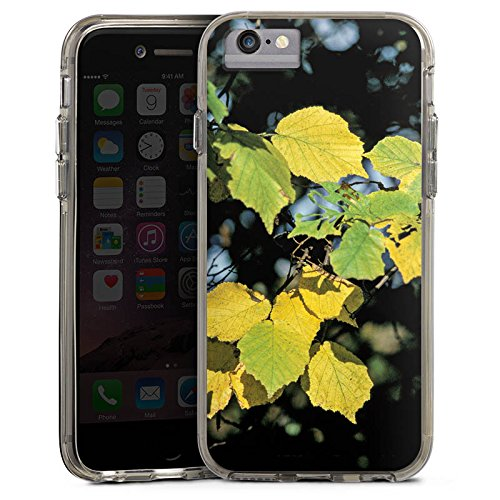 Apple iPhone 6s Plus Bumper Hülle Bumper Case Glitzer Hülle Blaetter Leaves Herbst Bumper Case transparent grau
