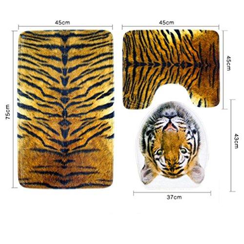 Malloom® Tiger und Leopard Badezimmer-rutschfester blauer Ozean-Art-Sockel-Wolldecke + Deckel-Toiletten-Abdeckung + Bad-Matte - Santa Bad Halloween Kostüm