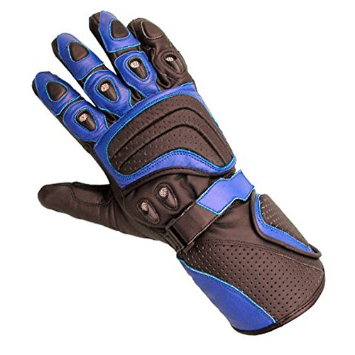 Juicy Trendz Rindsleder motorrad Biker Handschuhe Blau Large