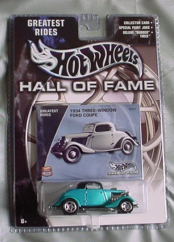 Hot Wheels Hall of Fame Greatest Rides 1934 Ford Three-Window Coupe TEAL by Mattel Teal Coupe