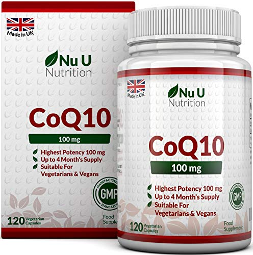 Coenzym Q10 100 mg - CoQ10-Nahrungsergänzungsmittel - 120 Kapseln - Nahrungsergänzungsmittel von Nu U Nutrition -