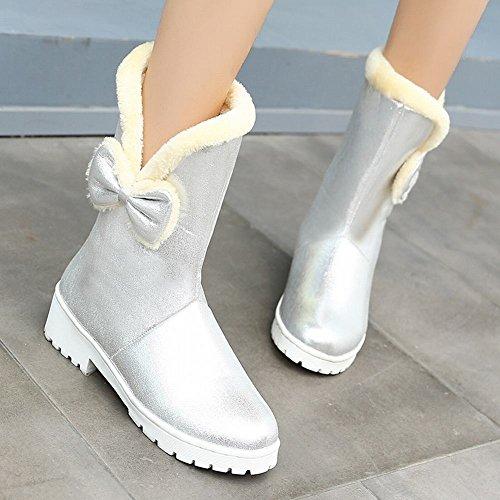 Mee Shoes Damen mit Schleife runde Glatteleder Schneestiefel Silber