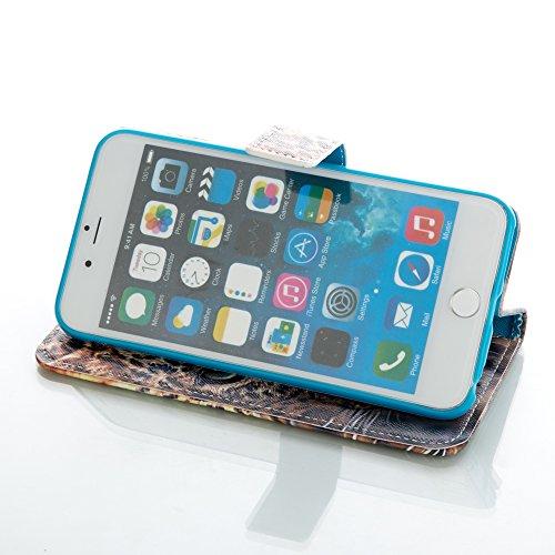 ISAKEN Custodia iPhone 6 Plus, Cover iPhone 6S Plus, Elegante borsa Custodia in Pelle Protettiva Flip Portafoglio Case Cover per Apple iPhone 6 Plus (6 5.5) / con Supporto di Stand / Carte Slot / Chi leopard head