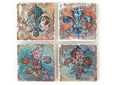 4 Stück Shabby Vintage Glasuntersetzer Fleur DE LIS Untersetzer Marmor Paris Frankreich Chic