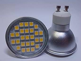 4 X Ampoule LED GU 10 Blanc chaud 5W 27 LED SDM halogène 50 W