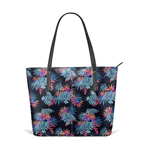 hulili Frauen weiches Leder Tote Umhängetasche Neon Paradiesvögel Mode Handtaschen Satchel Geldbörse