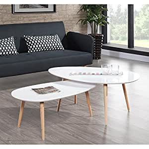 stone table basse 88x48cm laqu blanc brillant bricolage. Black Bedroom Furniture Sets. Home Design Ideas