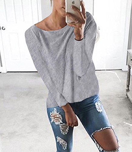 Yieune Oberteile Tops Damen V Ausschnitt Oversized Kreuz Rückenfrei Pullover Langarmshirts T Shirt Grau