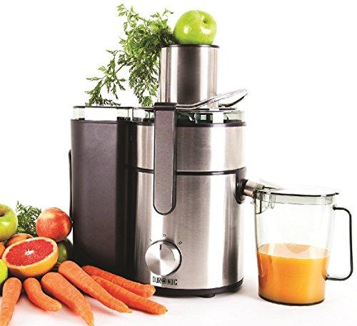 Duronic JE10 Centrifuga per frutta e verdura 1000W in INOX per frutta intera tubo di inserimento 85mm 2 velocità becco anti-goccia contenitore polpa e caraffa per succhi centrifugati