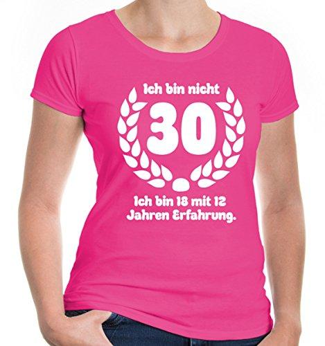 e T-Shirt Ich bin nicht 30. Ich bin 18 mit 12 Jahren Erfahrung | Geschenk Geburtstag | M, Rosa ()