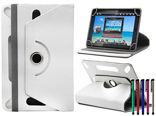 LOLO® Huawei MediaPad M1 8.0 8-Inch Tablet 360 Grad Rotation Universal PU Leder Hülle Abdeckung Ständer Tasche Beutel (Tablet Case - Cover- Folio) - Weiß (9 Zoll Tablet Tasche Für Mädchen)