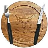 Steak-Set mit Wunschgravur, Steakmesser + Gabel + Holzbrettchen Akazie 25cm