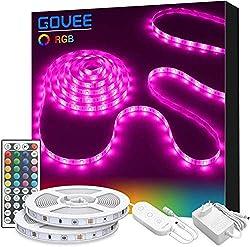 Govee LED Strip Lichtband, 10M RGB SMD 5050 Led Streifen Selbstklebend, Farbwechsel Led lichterkette mit IR Fernbedienung und Netzteil LED Band Leiste für die Beleuchtung von Haus, Party, Küche, Bar