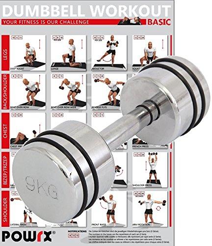POWRX - Mancuernas cromadas con anillo de goma profesional - 1 kg, 2 kg, 3 kg, 4 kg, 5 kg, 6 kg, 7 kg, 8 kg, 9 kg y 10 kg + PDF Workout con 20 ejercicios (9 kg)