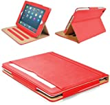 """MOFRED® Red & Tan Apple iPad Air 2 (Launched Oct. 2014) Leather Case-MOFRED®- Executive Multi Function Leather Standby Case for Apple New iPad Air 2 with Built-in magnet for Sleep & Awake Feature -- Independently Voted by """"The Daily Telegraph"""" as #1 iPad Air 2 Case!"""