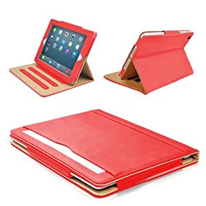 """MOFRED® Red & Tan Apple iPad Air (Launched November 2013) Leather Case-MOFRED®- Executive Multi Function Leather Standby Case for Apple New iPad Air with Built-in magnet for Sleep & Awake Feature -- Independently Voted by """"The Daily Telegraph"""" as #1 iPad Air Case!"""