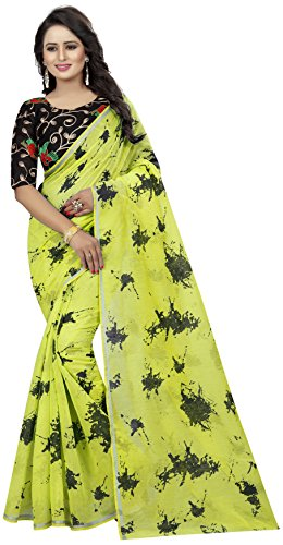 Shreeji Designer Women's Chanderi Cotton Fabric Embroidery Work and Printed Yellow Color...