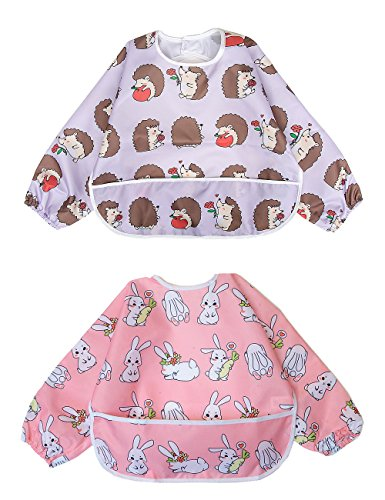 Babero Impremeable con mangas larga para bebé Manga Larga Resistente al agua Lavable Bebé Niños Alimentación Babero de Manga Larga (Pequeño conejo / pequeño erizo)