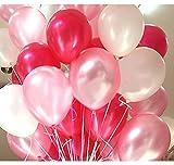GrandShop 50285 Balloons Metallic HD Red, White & Pink (Pack of 50)