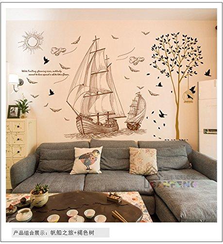 immer moderne Löwenzahn Mädchen und Yacht/Hirschkopf Wand Kunst Dekor Aufkleber, braun Baum (Braun 3d Schmetterling Wand-dekor)