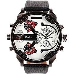 HongBoom Luxury Genuine Black Leather Band Four Movement Wrist Watch Mens Casual Business Analogue Quartz Wrist Watches Fashion Dress Wristwatch