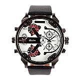 iLove EU Herren Armbanduhr Japanisches Quarz Analog Vier-Bewegung 4 Zeitzonen Luxus Uhr mit Weiß Zifferblatt und Schwarz Leder Armband