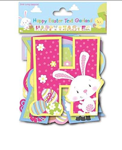 Felices pascuas Garland Banner 2 m guirnalda decoración del partido conejo huevos polluelos