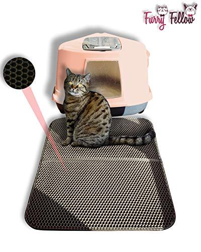 Furry Fellow Katzenklo Matte 70x55 cm - inklusive Stofftasche - Zweilagige Katzenstreumatte im Waben Muster - Für Katzenklo Katzen Matte
