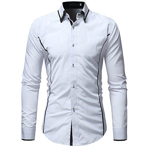 Camicia uomo landfox slim fit camicia da uomo a maniche lunghe casual in misto uomo, colore solido camicia miscela di cotone casual camicia uomo bianca camicie casual classiche