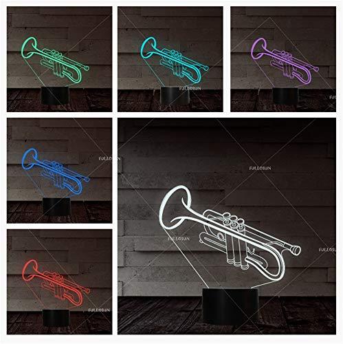 3D luz de la noche Trompeta instrumento de diseño modelo de regalo para los músicos dulce hogar club café decoración niños habitación de las niñas, control remoto táctil