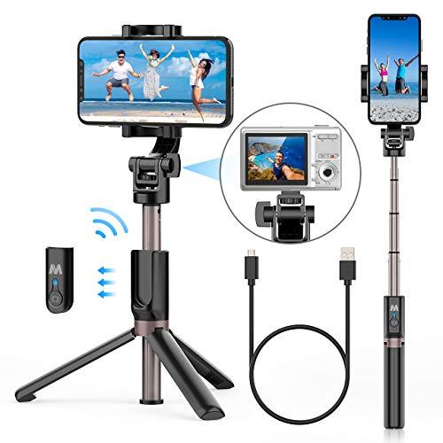 Romanda Selfie Stick, Selfiestick Stativ Bluetooth Wireless Mini Selfie Stange Stab mit Abnehmbarer Bluetooth Fernbedienung 4 in 1 360° Rotation für alle Bluetooth-fähige Smartphones und Kamera GoPro