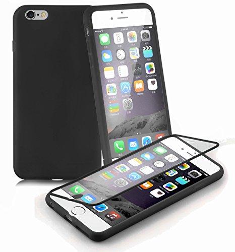 Preisvergleich Produktbild Cadorabo - TPU Silikon Schutzhülle (Full Body Rund-um-Schutz auch für das Display) für > Apple iPhone 6 PLUS / iPhone 6S PLUS < in OXID-SCHWARZ
