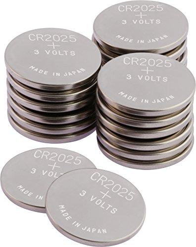 GP CR2025 Lithium Knopfzellen 3V, Knopfbatterien CR 2025 Spannung 3 Volt für verschiedenste Geräte- und Verbraucheranwendungen, (20-er Pack, Batterien einzeln entnehmbar)