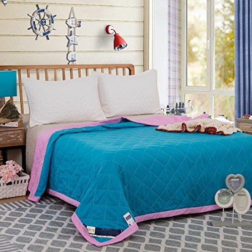 FGDJTYYJ Sommer Mikrofaser Bettdecke solide Simple Luxusbettwäsche Pflegeleicht Königin König Größe, Sky Blue, 220x240cm (Königin Mikrofaser-bettdecke)