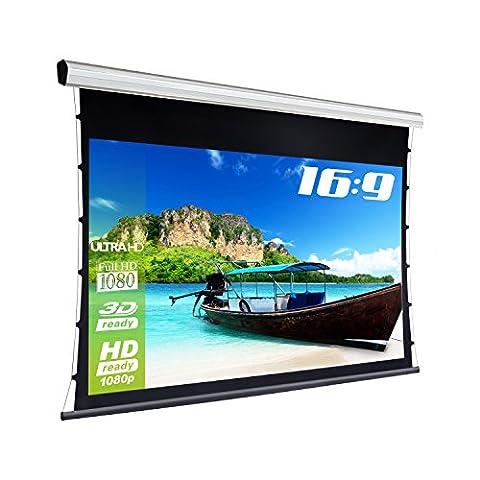eSmart Germany HAISER PRO TATENSO GRAU   Tageslicht-Tensionleinwand   Glasfaser-Tuch   244 x 137 cm (113