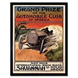 Wee Blue Coo Sport Motor Racing Grand Prize Automobile Club America USA Vintage Wall Art Print Mur Encadré Décor 30 x 41 cm...