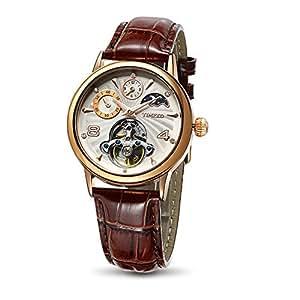 Time100 Orologio uomo automatico pelle di vitello marrone cronografo, lucidato a mano, lancette luminescenti#W60011M.03A