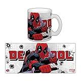 sémic–smug103–Tasse mit dem Bild von Deadpool–Hero Marvel–Thema katana-rama–Weiß