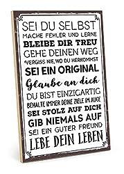 TypeStoff Holzschild mit Spruch - SEI DU SELBST - im Vintage-Look mit Zitat als Geschenk und Dekoration (Größe: 19,5 x 28,2 cm)