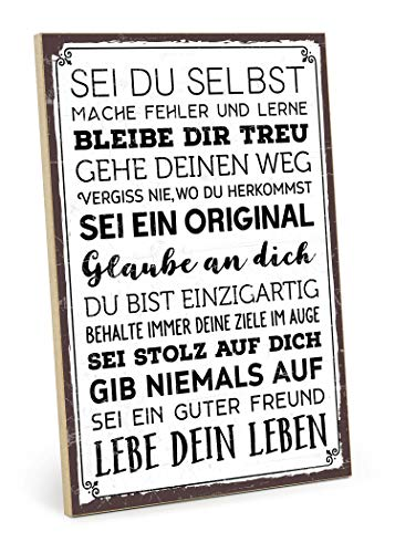 TypeStoff Holzschild mit Spruch - SEI DU SELBST - im Vintage-Look mit Zitat als Geschenk und Dekoration (Größe: 19,5 x 28,2 cm) -