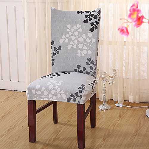 6x morbido spandex elasticizzato Fit sedie da sala da pranzo con motivo stampato, banchetto sedia sedile Slipcover per Hone party hotel cerimonia di nozze Posate da pasto B - 3