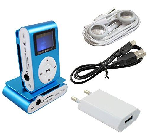 IPRIME® Mini MP3 Player mit LCD bis 32 GB ohne Micro SD Karte mit Kopfhörer, Ladegerät Netzteil Netzstecker, eingebautem Akku und Befestigungsclip - Blau
