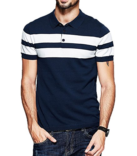 Fanideaz Branded Men's Half Sleeve Navy Blue with White Contrast Striped Polo T-Shirt XL